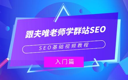 SEO基础视频教程:《跟夫唯老师学群站SEO》入门篇